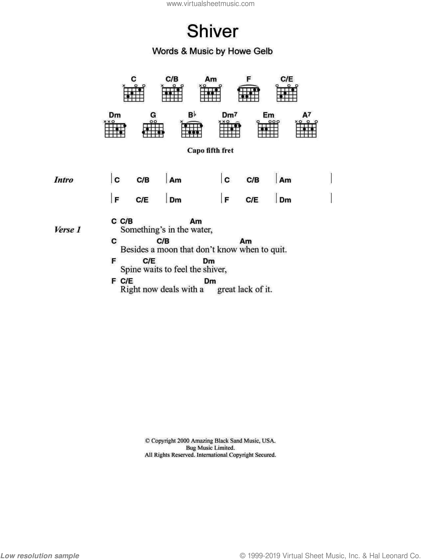 Shiver sheet music for guitar (chords) by Giant Sand, intermediate guitar (chords). Score Image Preview.
