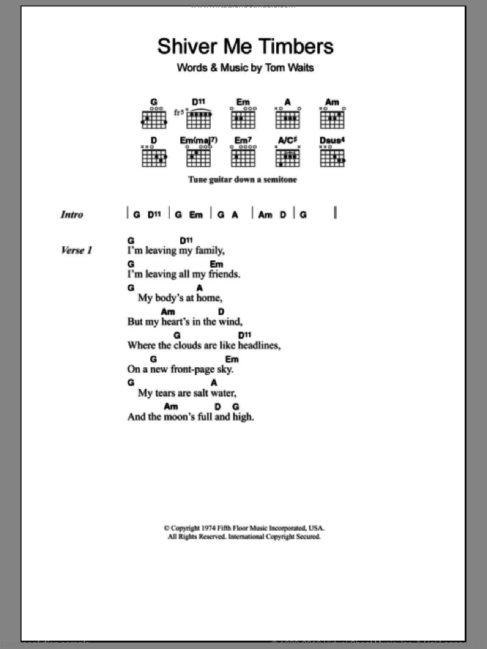 Shiver Me Timbers sheet music for guitar (chords) by Tom Waits. Score Image Preview.