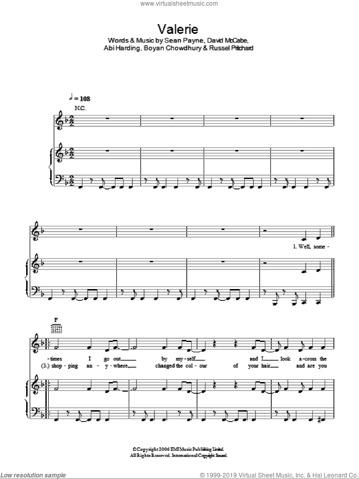 Valerie sheet music for voice, piano or guitar by Sean Payne, Miscellaneous, Abi Harding, Amy Winehouse and Glee Cast. Score Image Preview.