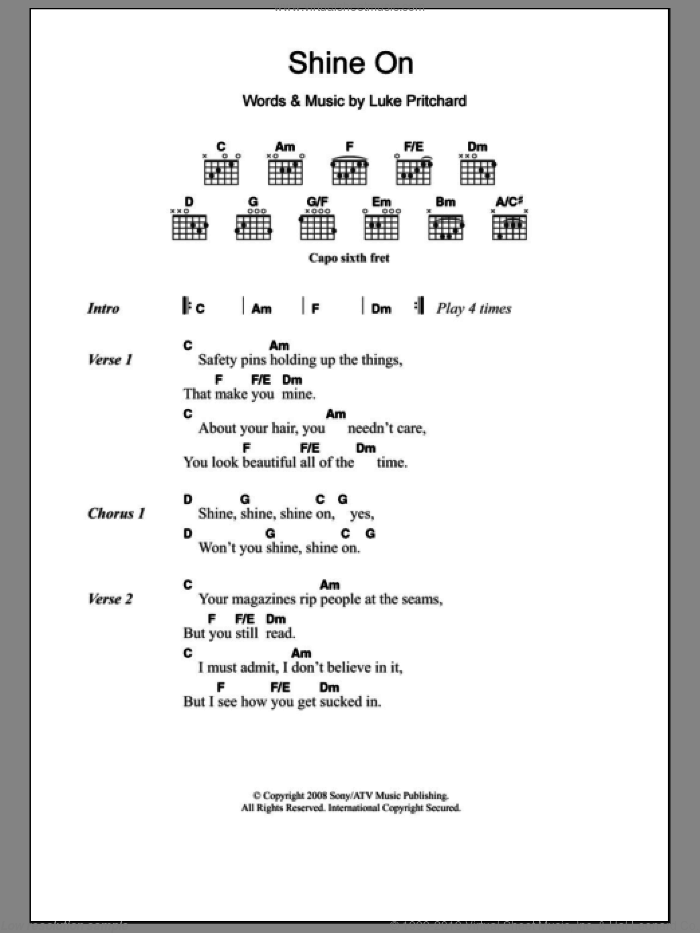 Shine On sheet music for guitar (chords) by The Kooks and Luke Pritchard, intermediate skill level