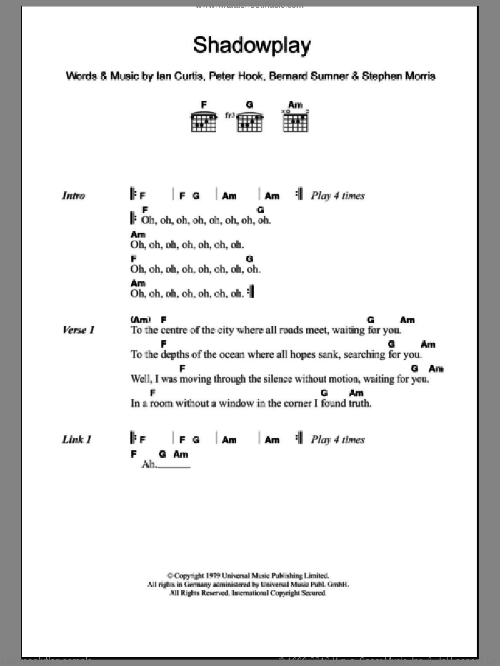 Shadowplay sheet music for guitar (chords) by The Killers, Joy Division, Bernard Sumner, Peter Hook and Stephen Morris, intermediate guitar (chords). Score Image Preview.