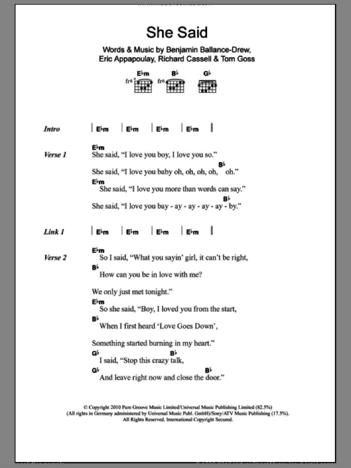 She Said sheet music for guitar (chords, lyrics, melody) by Tom Goss