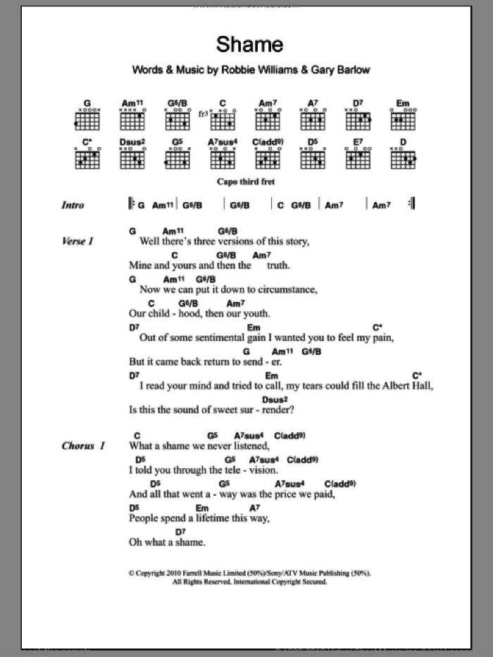Shame sheet music for guitar (chords) by Robbie Williams & Gary Barlow, Gary Barlow and Robbie Williams, intermediate. Score Image Preview.