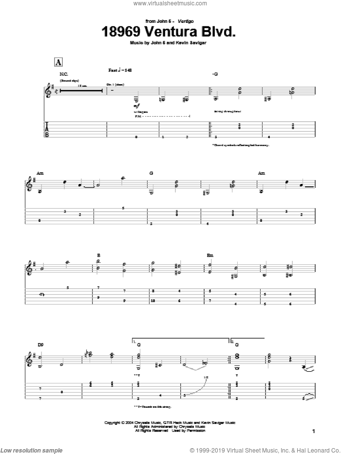 18969 Ventura Blvd. sheet music for guitar (tablature) by Kevin Savigar and John5