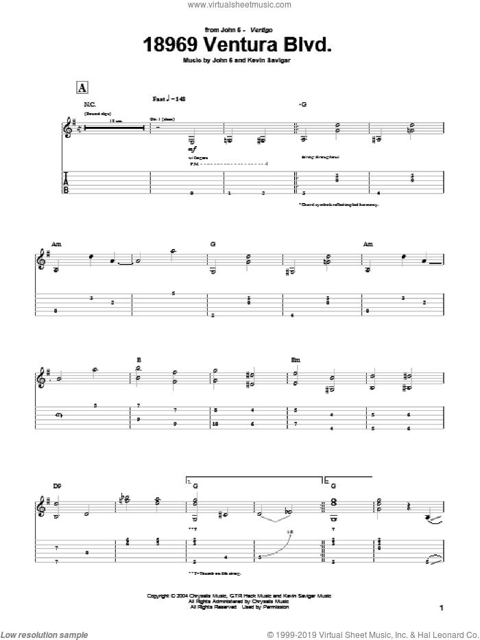 18969 Ventura Blvd. sheet music for guitar (tablature) by John5 and Kevin Savigar, intermediate skill level