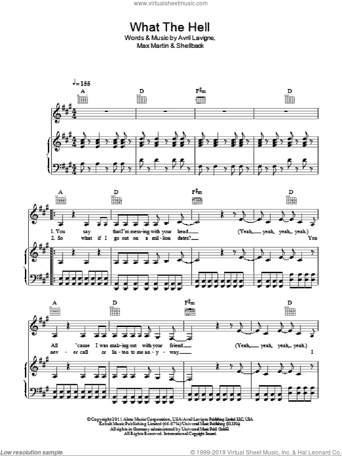 What The Hell sheet music for voice, piano or guitar by Avril Lavigne, Max Martin and Shellback. Score Image Preview.