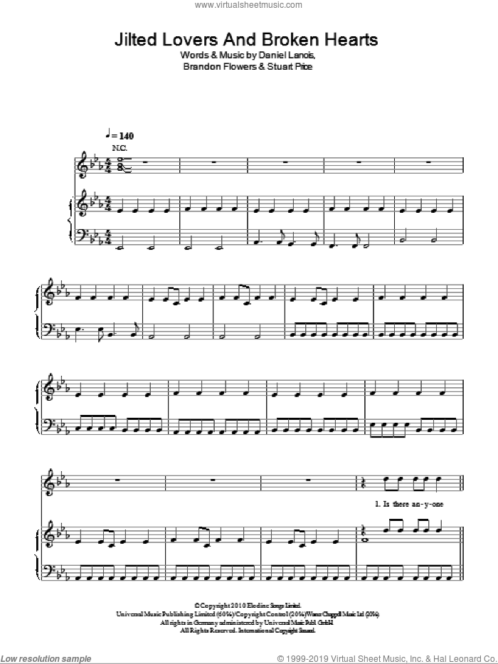Jilted Lovers And Broken Hearts sheet music for voice, piano or guitar by Brandon Flowers, Daniel Lanois and Stuart Price. Score Image Preview.