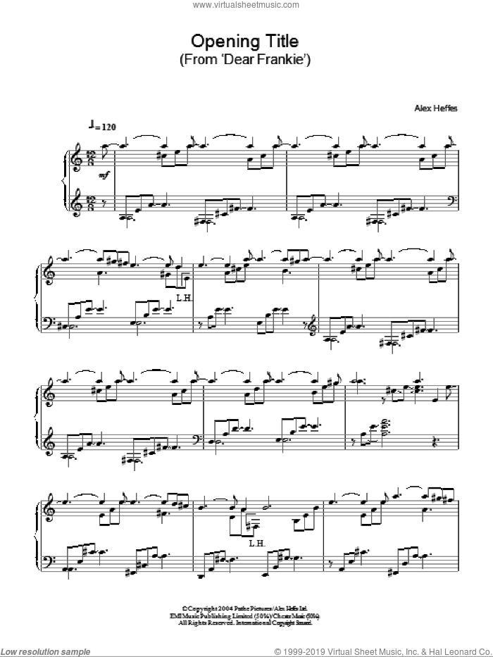Opening Title (from Dear Frankie) sheet music for piano solo by Alex Heffes, intermediate piano. Score Image Preview.