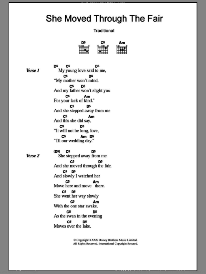 She Moved Through The Fair sheet music for guitar (chords) by Traditional Irish Folksong and Miscellaneous. Score Image Preview.