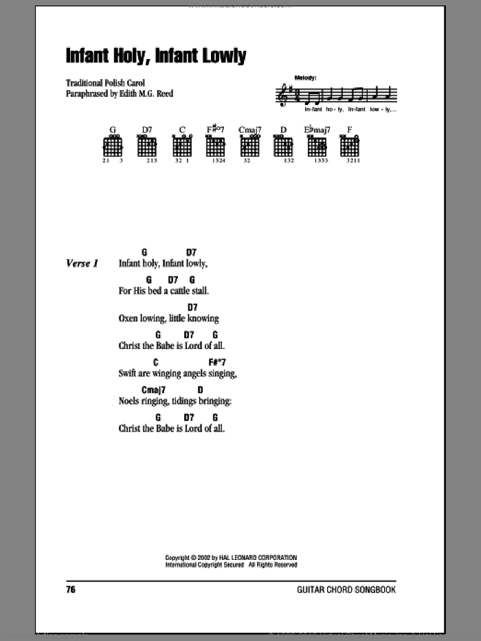 Infant Holy, Infant Lowly sheet music for guitar (chords) by Edith M.G. Reed and Miscellaneous, intermediate skill level