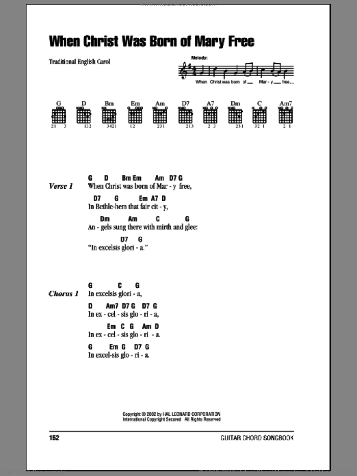 When Christ Was Born Of Mary Free sheet music for guitar (chords) by Traditional Text, 15th Century, Miscellaneous and Arthur H. Brown. Score Image Preview.