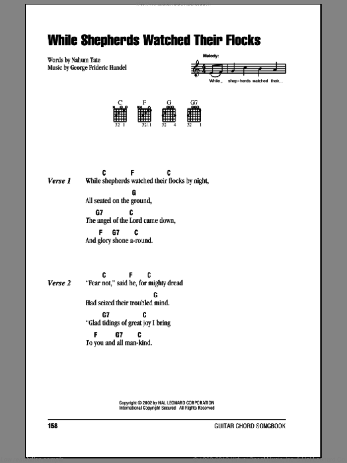 While Shepherds Watched Their Flocks sheet music for guitar (chords) by Nahum Tate, Miscellaneous and George Frideric Handel. Score Image Preview.