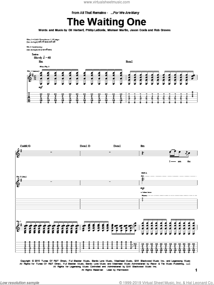 The Waiting One sheet music for guitar (tablature) by Rob Graves, All That Remains and Philip LaBonte. Score Image Preview.