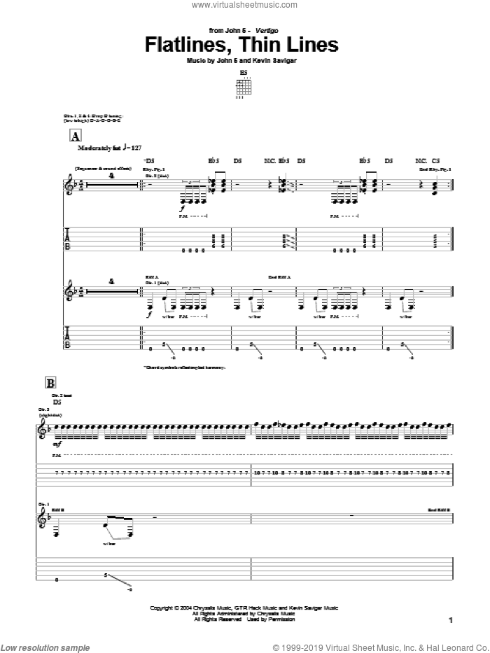 Flatlines, Thin Lines sheet music for guitar (tablature) by John5 and Kevin Savigar, intermediate skill level