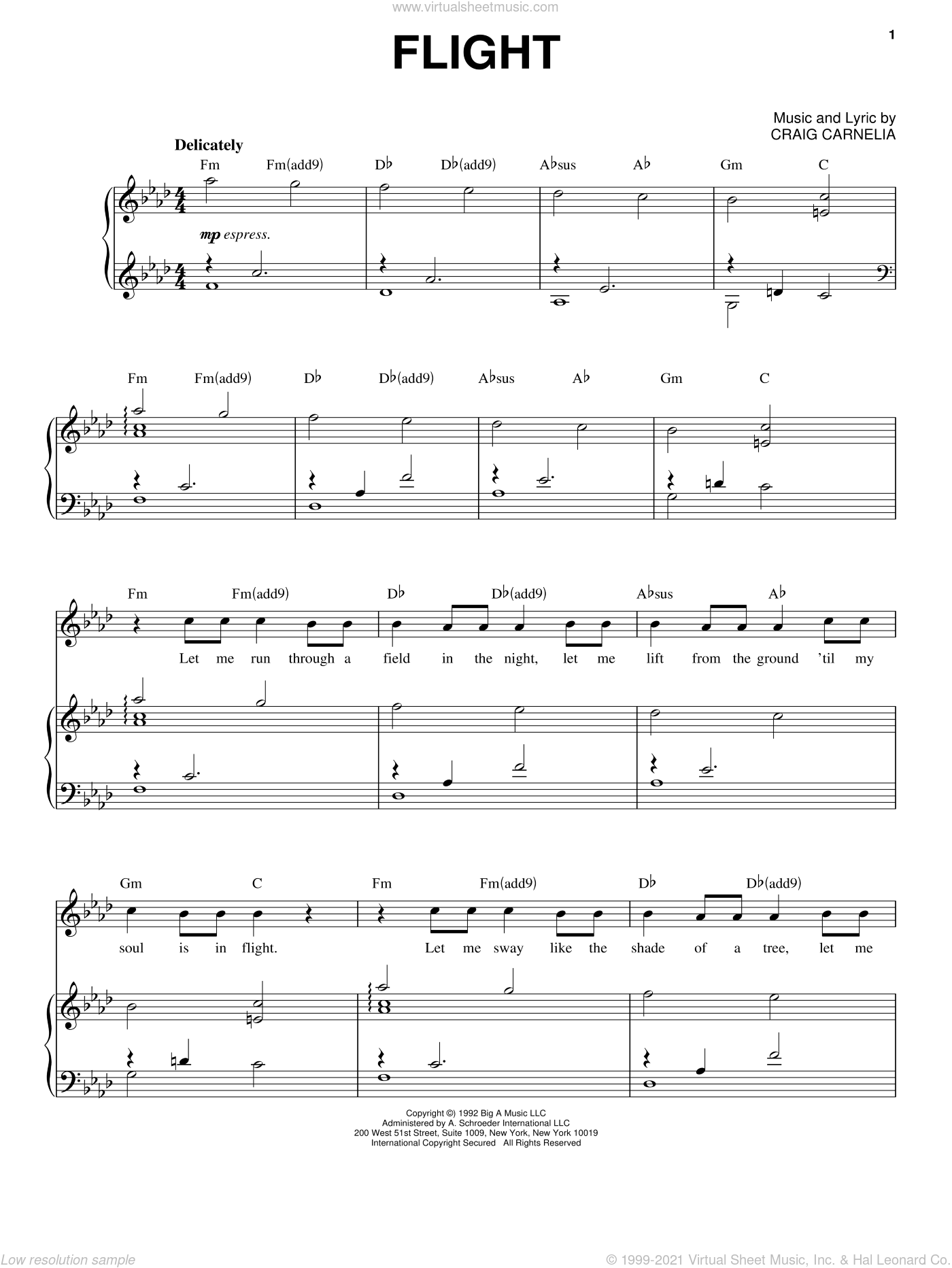 Flight sheet music for voice and piano by Craig Carnelia, intermediate skill level