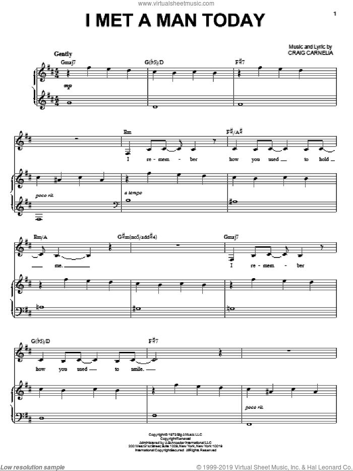 I Met A Man Today sheet music for voice and piano by Craig Carnelia