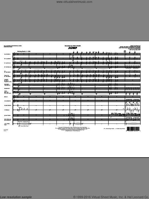 Jump (COMPLETE) sheet music for marching band by Alex Van Halen, David Lee Roth, Edward Van Halen, Jay Bocook, Michael Anthony and Will Rapp. Score Image Preview.