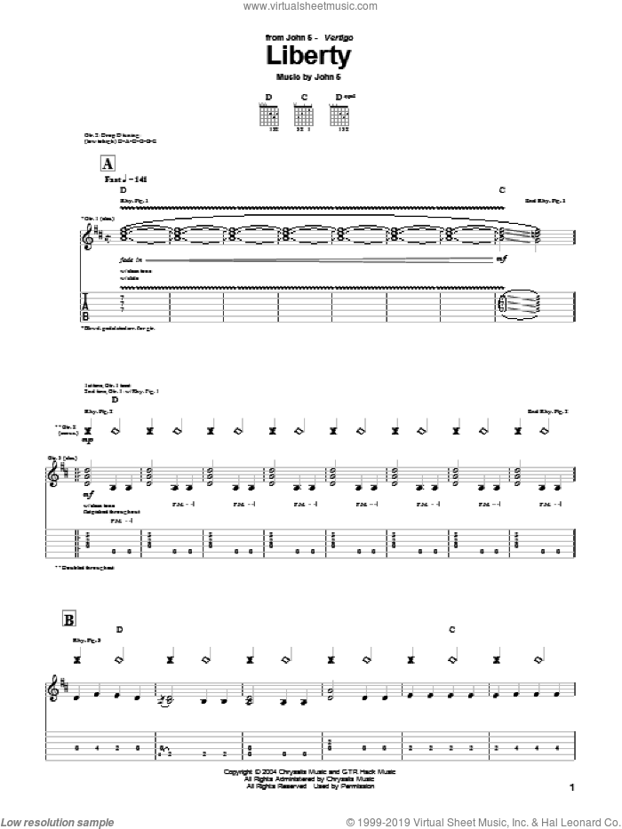 Liberty sheet music for guitar (tablature) by John5. Score Image Preview.