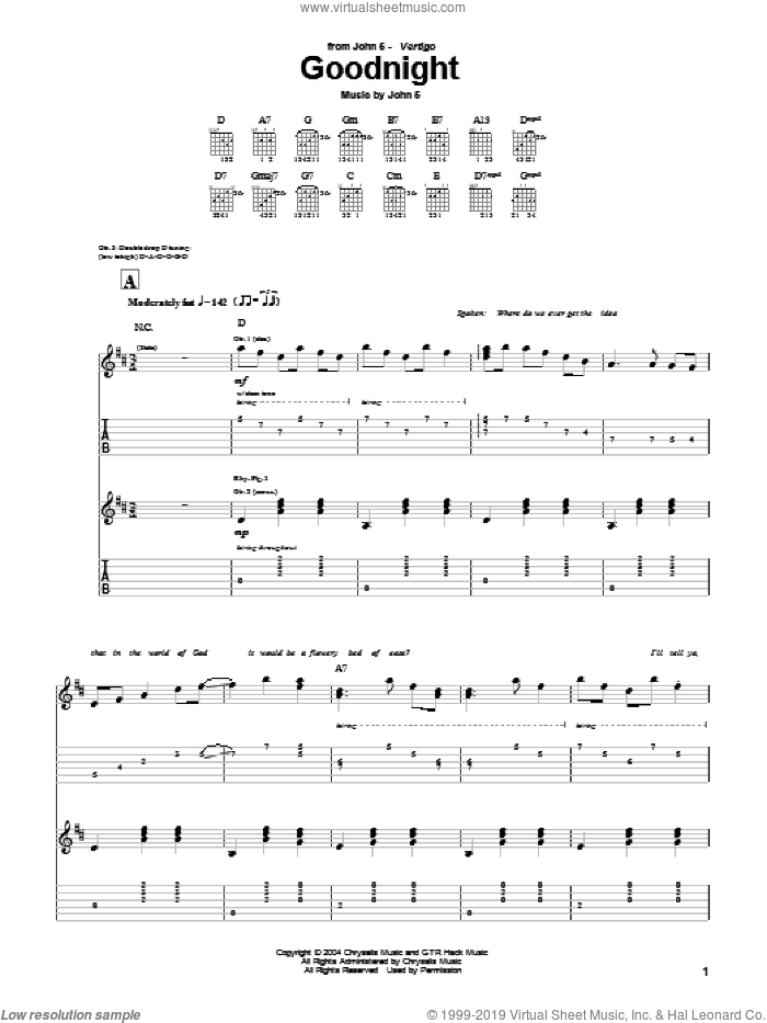 Goodnight sheet music for guitar (tablature) by John5, intermediate. Score Image Preview.