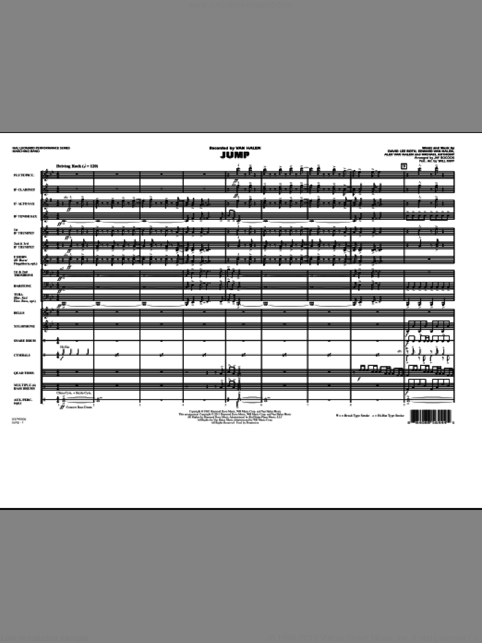 Jump (COMPLETE) sheet music for marching band by Edward Van Halen, Alex Van Halen, David Lee Roth, Michael Anthony, Jay Bocook and Will Rapp, intermediate skill level