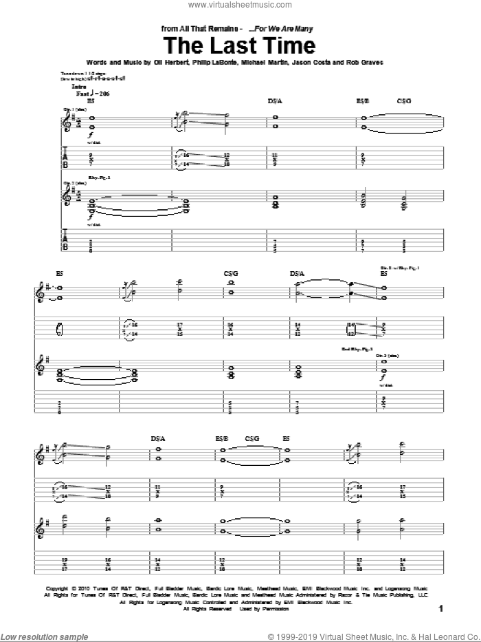 The Last Time sheet music for guitar (tablature) by Rob Graves, All That Remains and Philip LaBonte. Score Image Preview.