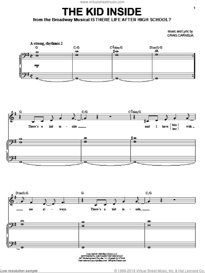 The Kid Inside sheet music for voice and piano by Craig Carnelia, intermediate skill level