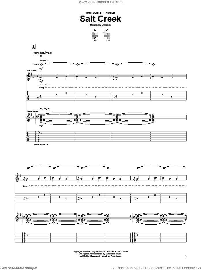 Salt Creek sheet music for guitar (tablature) by John5. Score Image Preview.