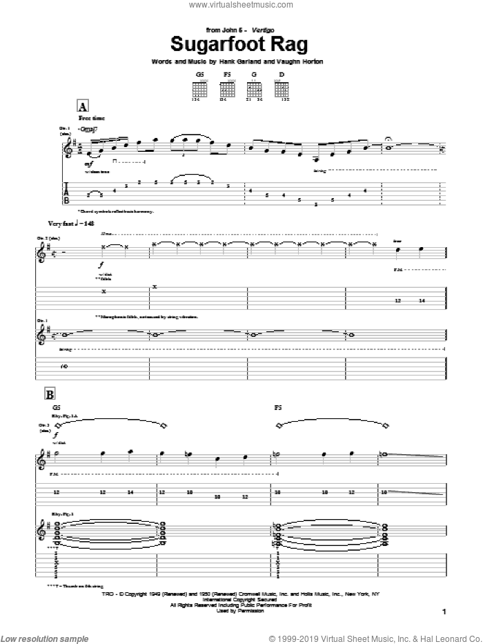Sugarfoot Rag sheet music for guitar (tablature) by Vaughn Horton, Jerry Reed and John5. Score Image Preview.