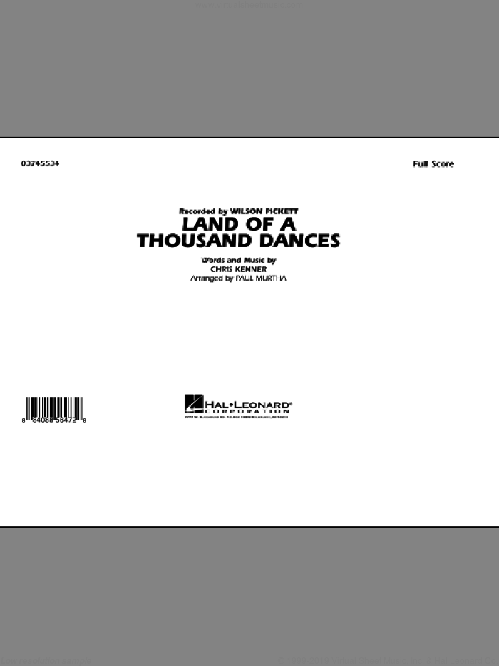 Land Of A Thousand Dances (COMPLETE) sheet music for marching band by Wilson Pickett and Paul Murtha, intermediate. Score Image Preview.