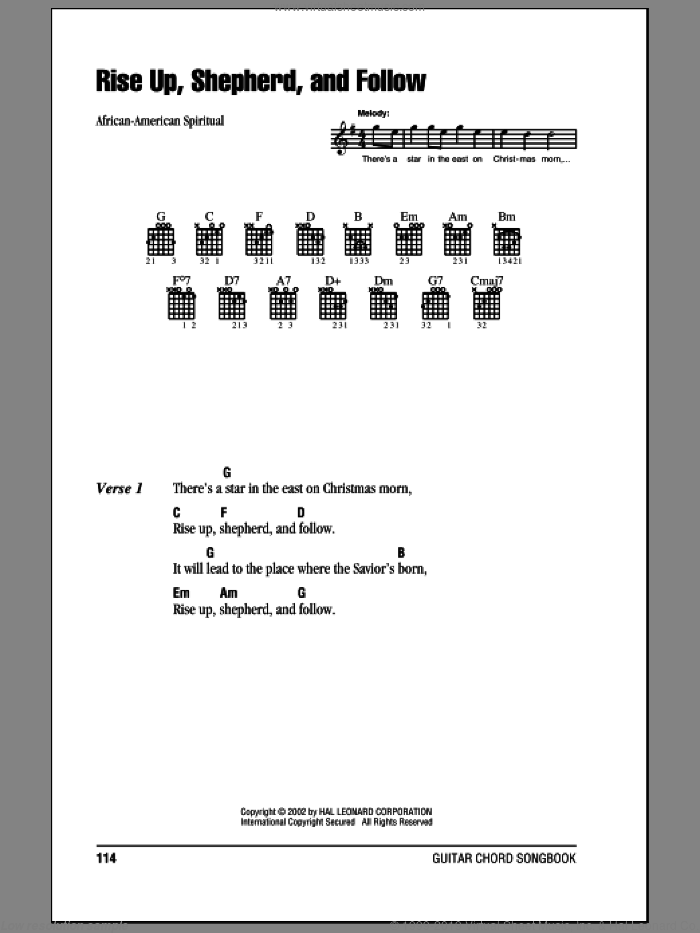 Rise Up, Shepherd, And Follow sheet music for guitar (chords)
