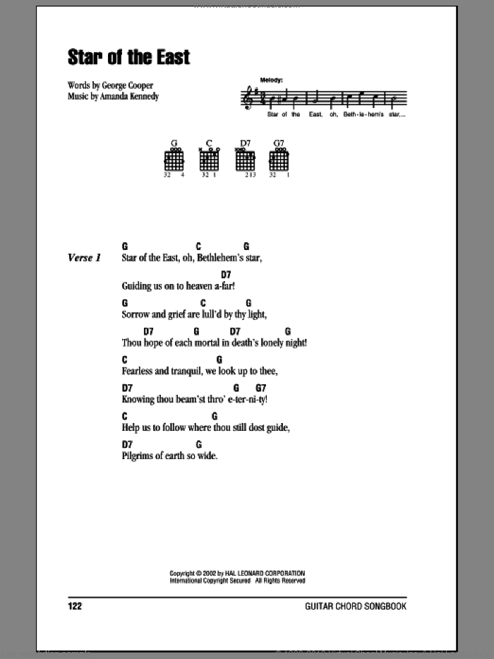 Star Of The East sheet music for guitar (chords) by George Cooper