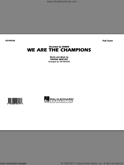 We Are The Champions (COMPLETE) sheet music for marching band by Freddie Mercury