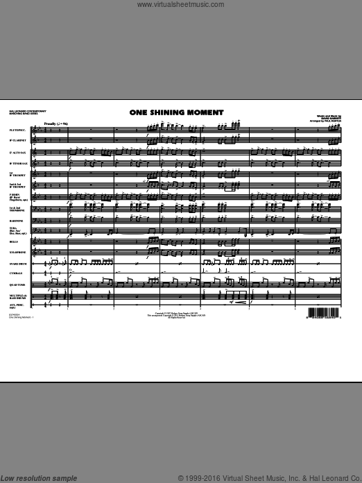 One Shining Moment (COMPLETE) sheet music for marching band by Paul Murtha. Score Image Preview.