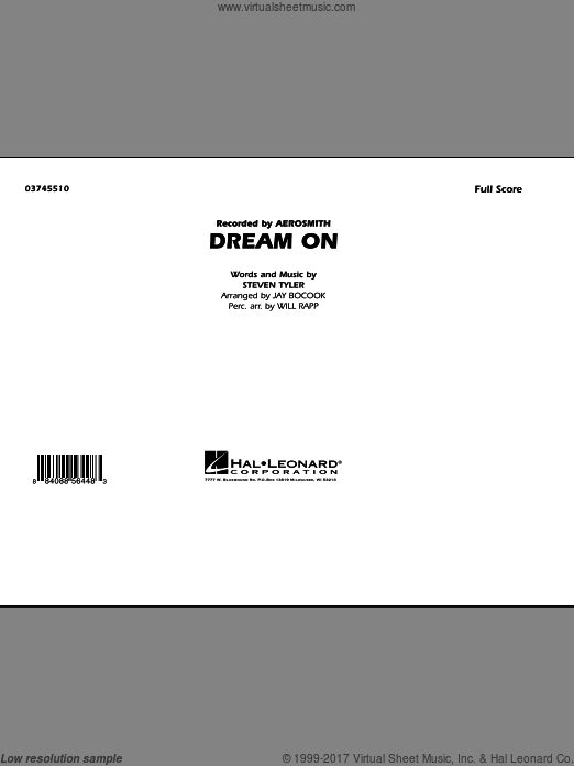 Dream On (COMPLETE) sheet music for marching band by Steven Tyler