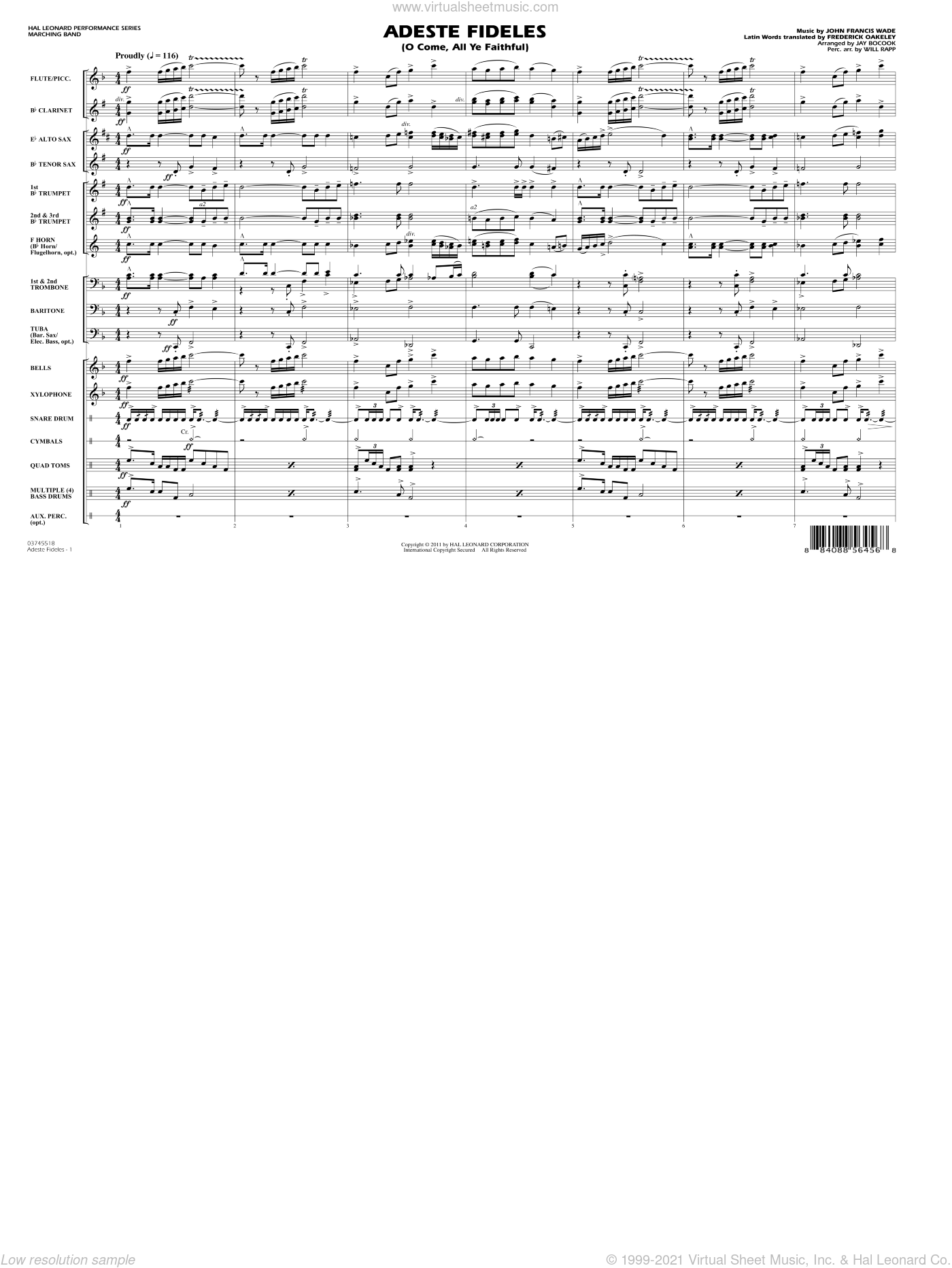 Adeste Fideles (O Come, All Ye Faithful) sheet music for marching band (full score) by Frederick Oakeley