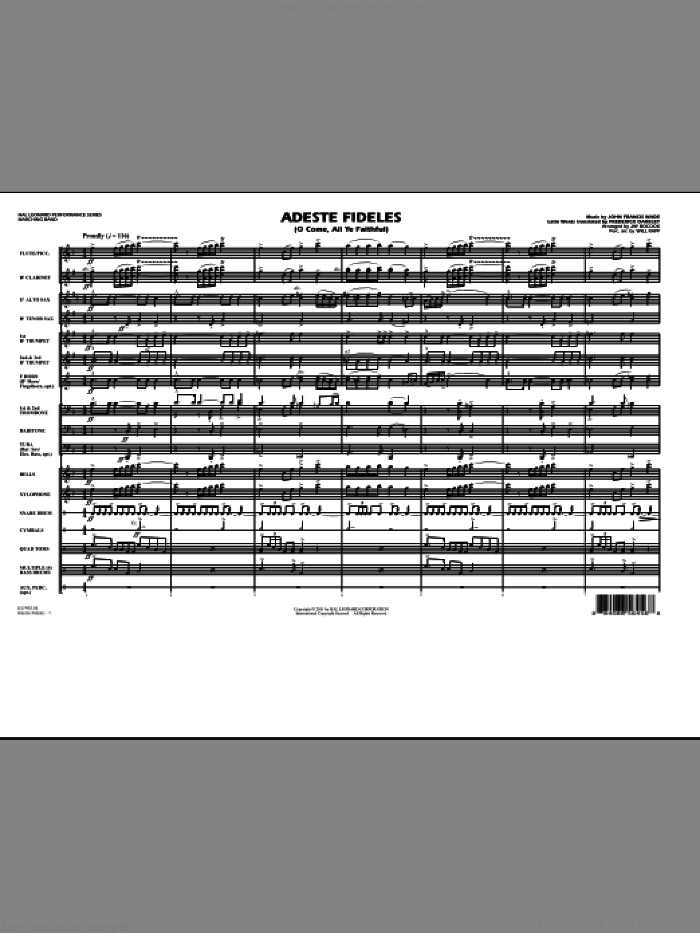 Adeste Fideles (O Come, All Ye Faithful) (COMPLETE) sheet music for marching band by John Francis Wade, Frederick Oakeley, Jay Bocook and Will Rapp, intermediate. Score Image Preview.