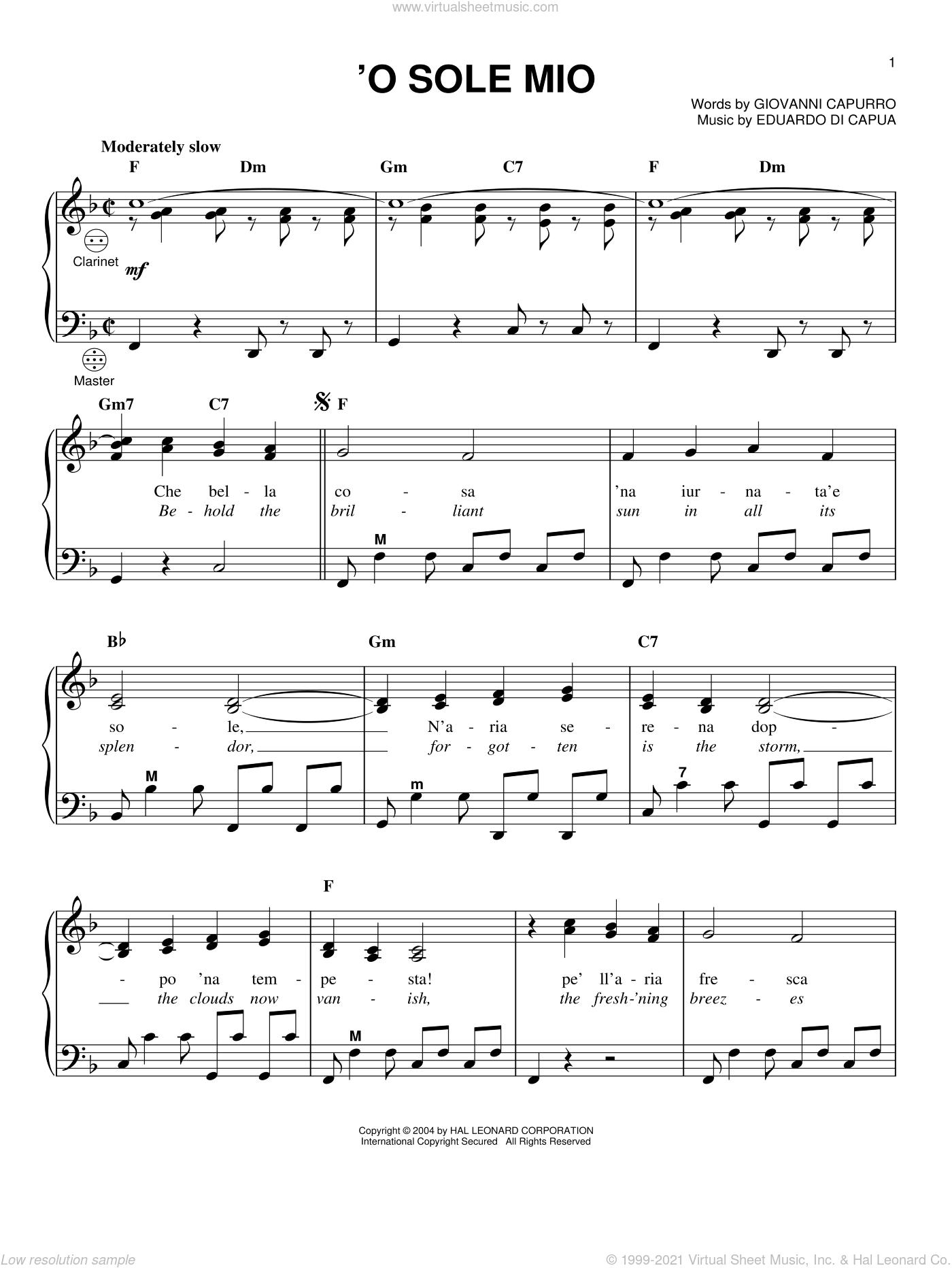 'O Sole Mio sheet music for accordion by Mario Lanza, Luciano Pavarotti, Eduardo di Capua and Giovanni Capurro, intermediate skill level