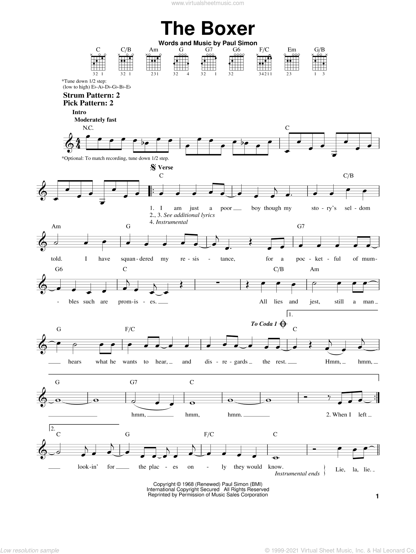 The Boxer sheet music for guitar solo (chords) by Paul Simon and Simon & Garfunkel. Score Image Preview.