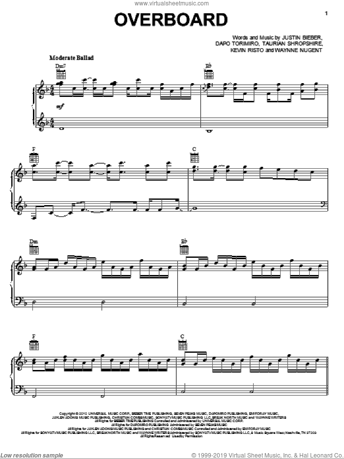 Overboard sheet music for voice, piano or guitar by Waynne Nugent