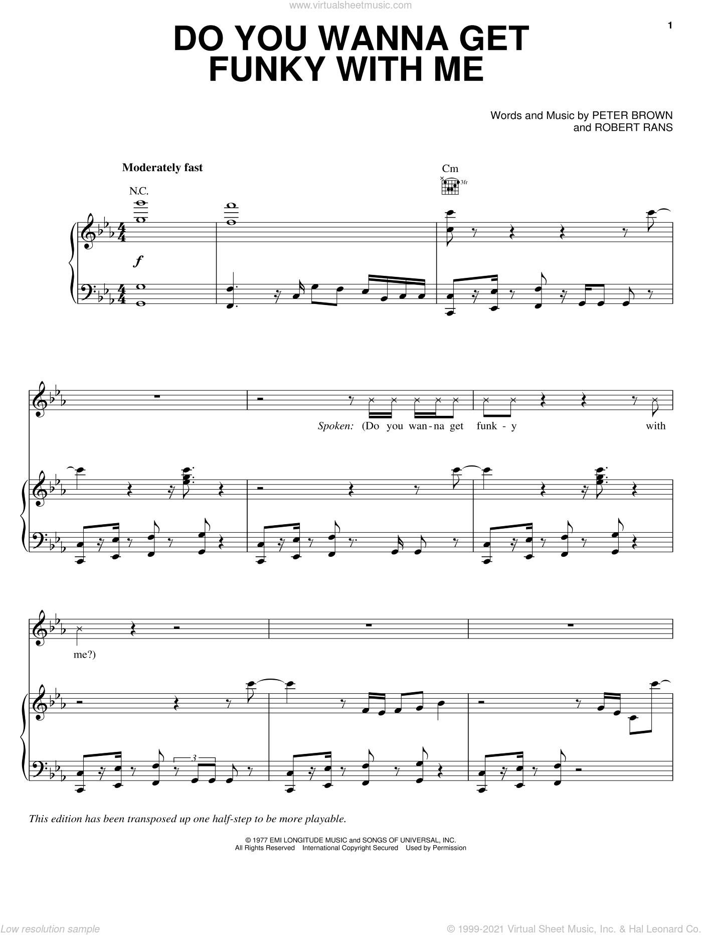 Do You Wanna Get Funky With Me sheet music for voice, piano or guitar by Pete Brown. Score Image Preview.