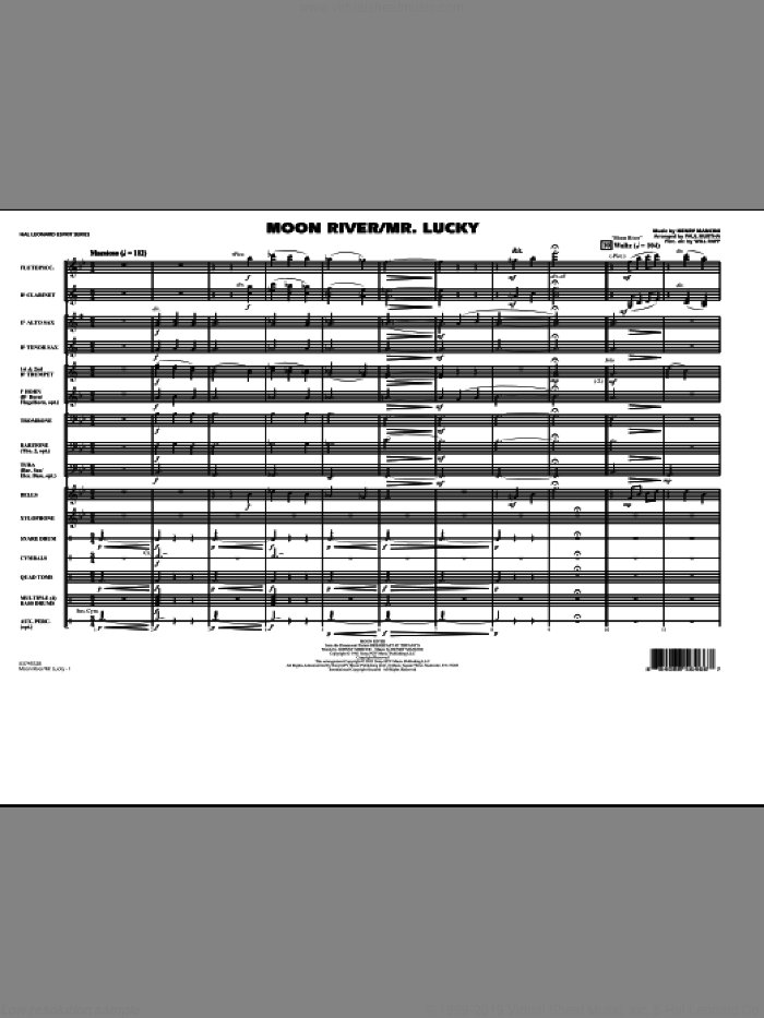Moon River/Mr. Lucky (COMPLETE) sheet music for marching band by Henry Mancini, Paul Murtha and Will Rapp, intermediate. Score Image Preview.