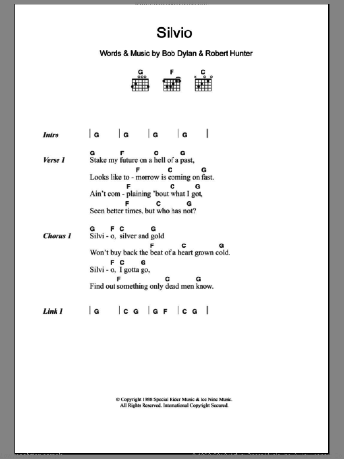 Silvio sheet music for guitar (chords) by Robert Hunter and Bob Dylan. Score Image Preview.