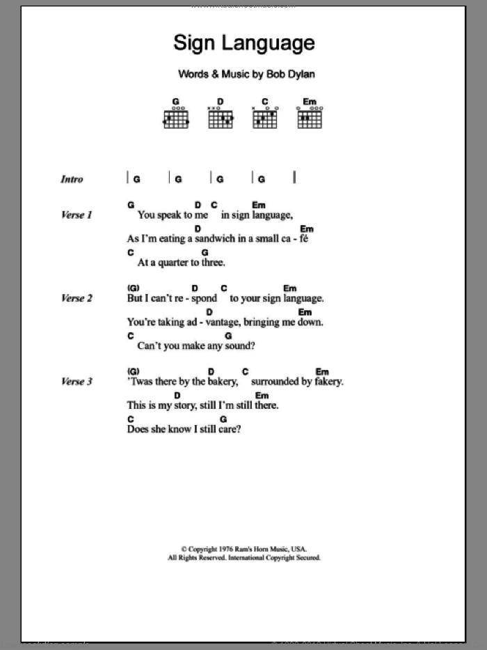 Clapton - Sign Language sheet music for guitar (chords) [PDF]