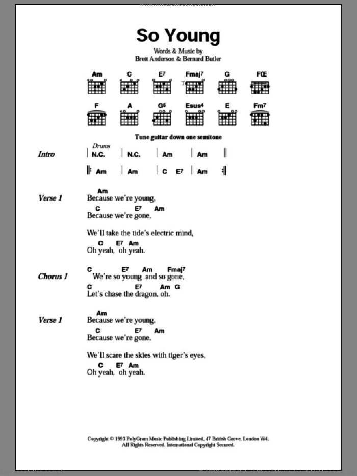 So Young sheet music for guitar (chords, lyrics, melody) by Brett Anderson