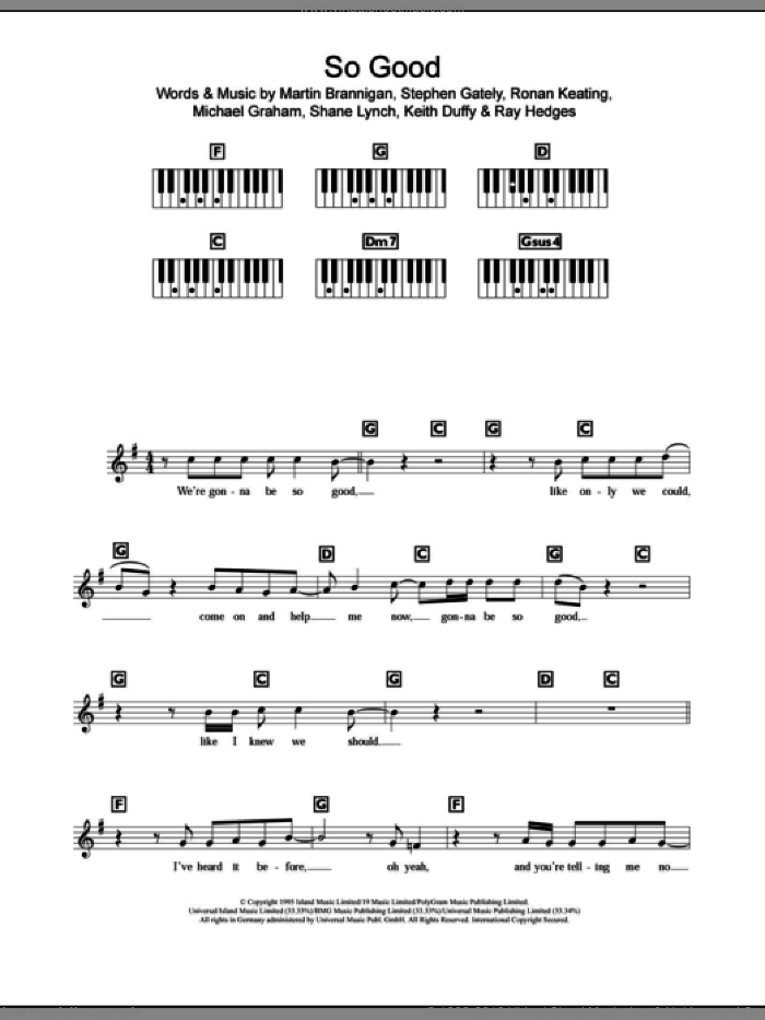 So Good sheet music for piano solo (chords, lyrics, melody) by Boyzone, Ronan Keating and Stephen Gately, intermediate piano (chords, lyrics, melody). Score Image Preview.