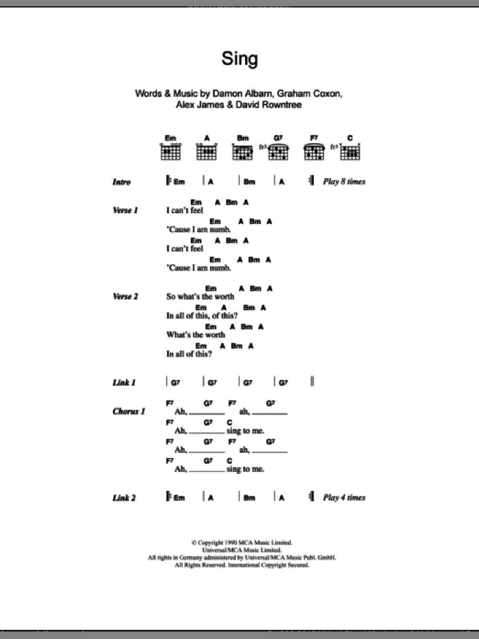 Blur - Sing sheet music for guitar (chords) [PDF]