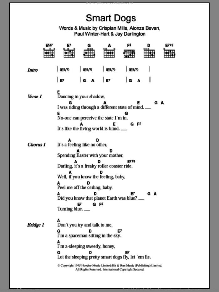 Smart Dogs sheet music for guitar (chords) by Kula Shaker. Score Image Preview.