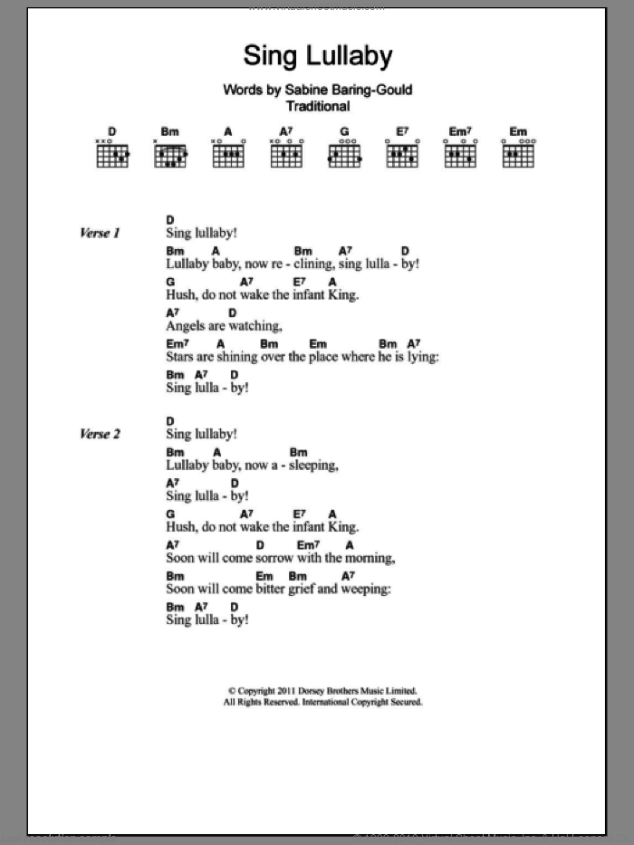 Sing Lullaby sheet music for guitar (chords) by Sabine Baring-Gould and Miscellaneous, intermediate. Score Image Preview.