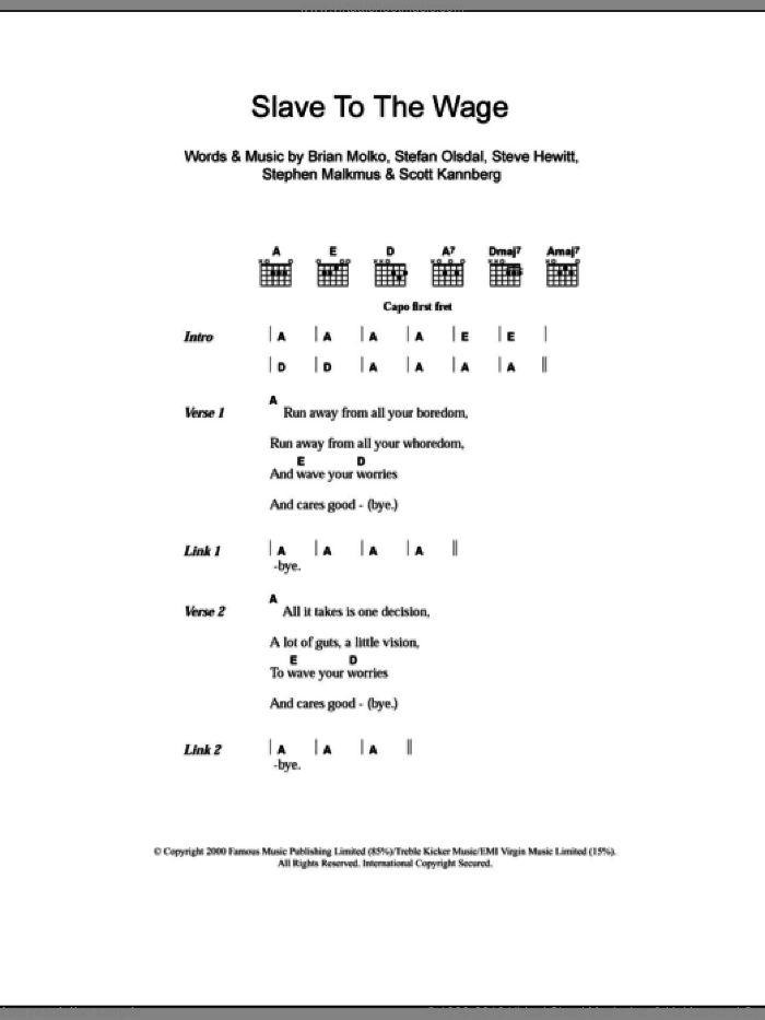 Slave To The Wage sheet music for guitar (chords) by Steve Hewitt, Brian Molko and Stefan Olsdal. Score Image Preview.