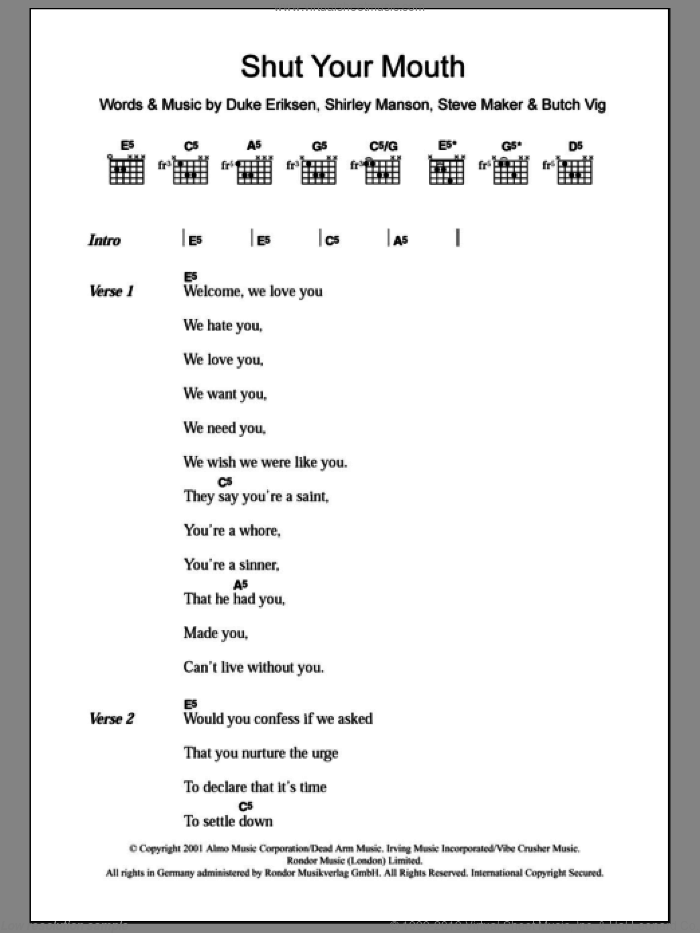 Shut Your Mouth sheet music for guitar (chords) by Garbage, Butch Vig, Duke Eriksen, Shirley Manson and Steve Maker, intermediate. Score Image Preview.